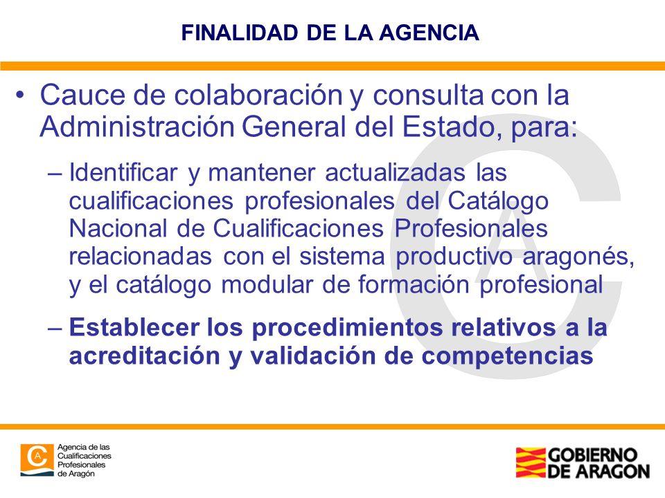 FINALIDAD DE LA AGENCIA Cauce de colaboración y consulta con la Administración General del Estado, para: –Identificar y mantener actualizadas las cual