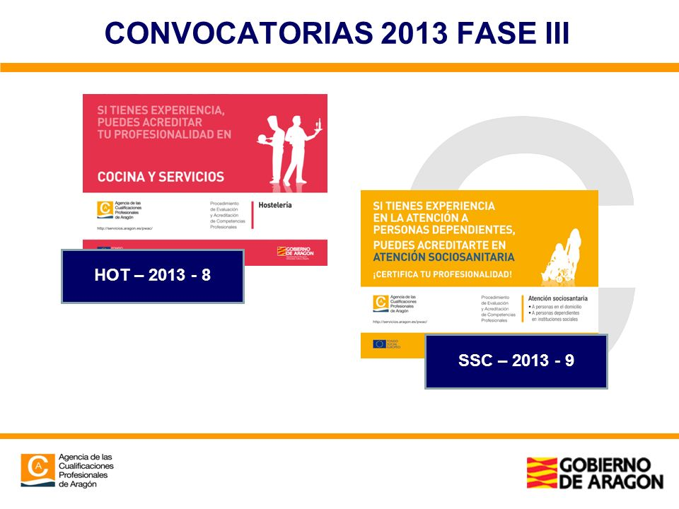 CONVOCATORIAS 2013 FASE III HOT – 2013 - 8 SSC – 2013 - 9