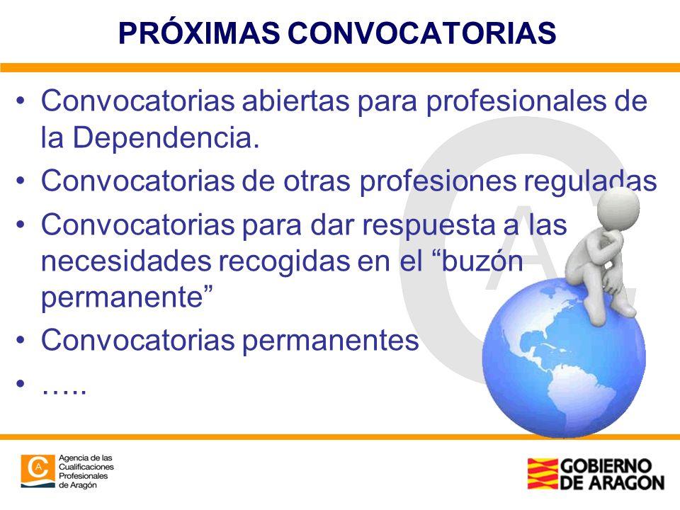 PRÓXIMAS CONVOCATORIAS Convocatorias abiertas para profesionales de la Dependencia. Convocatorias de otras profesiones reguladas Convocatorias para da
