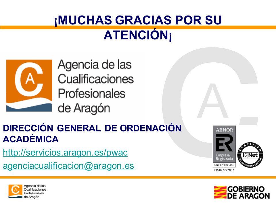 ¡MUCHAS GRACIAS POR SU ATENCIÓN¡ DIRECCIÓN GENERAL DE ORDENACIÓN ACADÉMICA http://servicios.aragon.es/pwac agenciacualificacion@aragon.es