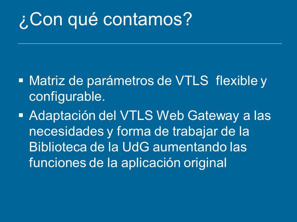 ¿Con qué contamos? Matriz de parámetros de VTLS flexible y configurable. Adaptación del VTLS Web Gateway a las necesidades y forma de trabajar de la B