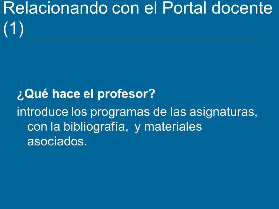 Relacionando con el Portal docente (1) ¿Qué hace el profesor? introduce los programas de las asignaturas, con la bibliografía, y materiales asociados.