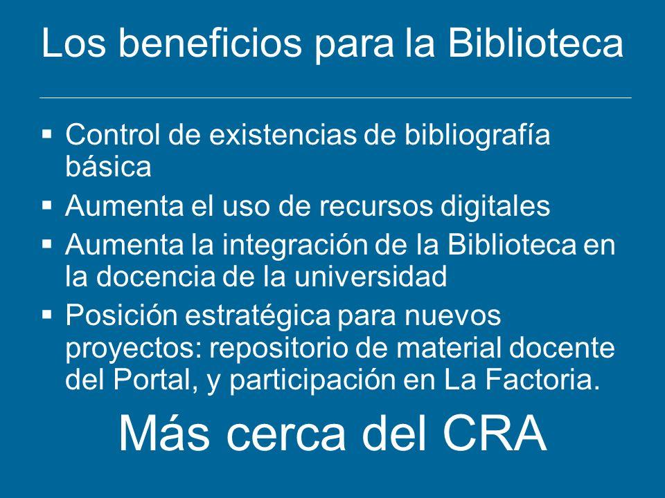 Los beneficios para la Biblioteca Control de existencias de bibliografía básica Aumenta el uso de recursos digitales Aumenta la integración de la Bibl