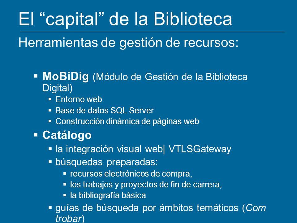 El capital de la Biblioteca Herramientas de gestión de recursos: MoBiDig (Módulo de Gestión de la Biblioteca Digital) Entorno web Base de datos SQL Se