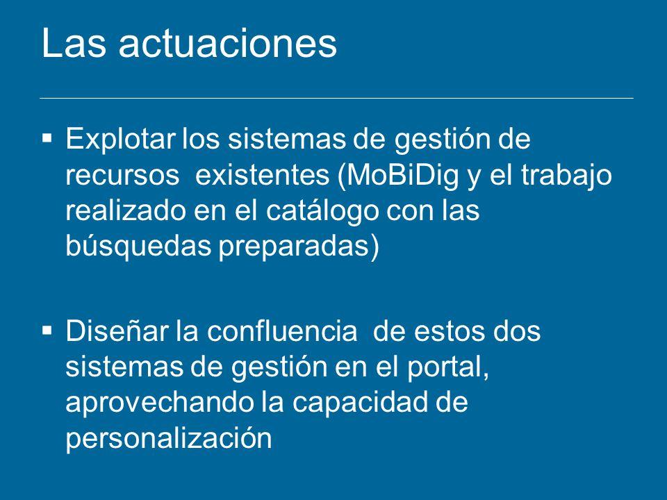 Las actuaciones Explotar los sistemas de gestión de recursos existentes (MoBiDig y el trabajo realizado en el catálogo con las búsquedas preparadas) D
