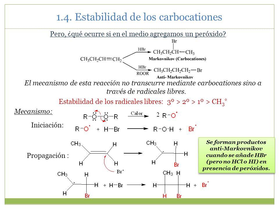 1.4. Estabilidad de los carbocationes Pero, ¿qué ocurre si en el medio agregamos un peróxido? El mecanismo de esta reacción no transcurre mediante car