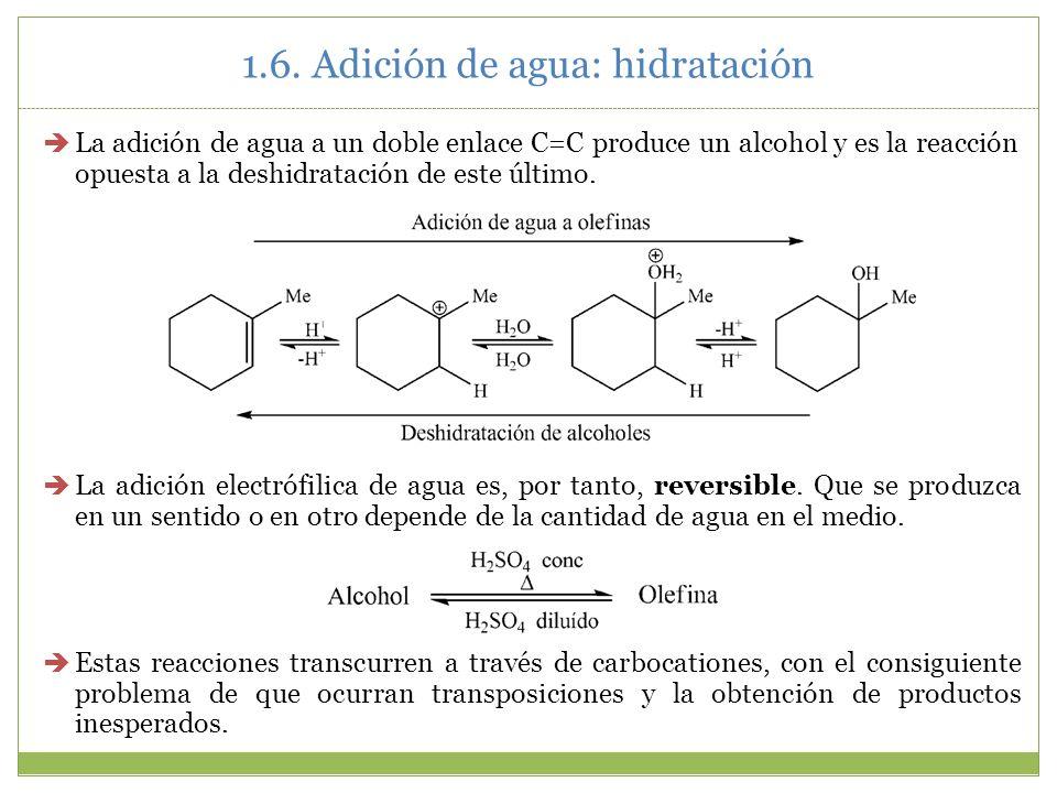 1.6. Adición de agua: hidratación La adición de agua a un doble enlace C=C produce un alcohol y es la reacción opuesta a la deshidratación de este últ