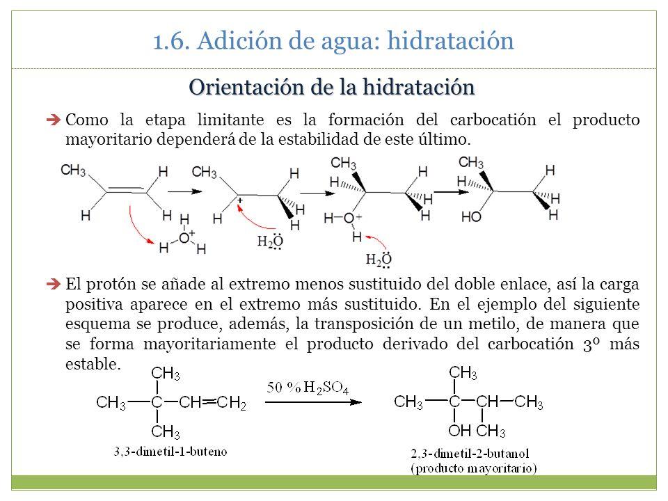 1.6. Adición de agua: hidratación Orientación de la hidratación Como la etapa limitante es la formación del carbocatión el producto mayoritario depend