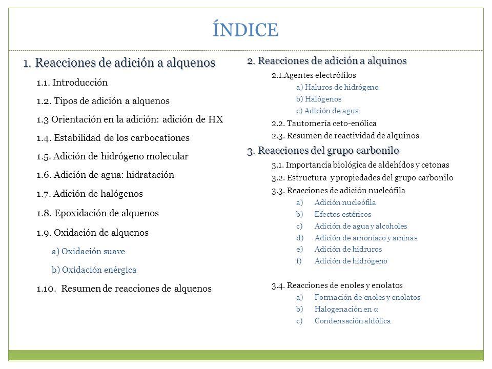 ÍNDICE 1. Reacciones de adición a alquenos 1.1. Introducción 1.2. Tipos de adición a alquenos 1.3 Orientación en la adición: adición de HX 1.4. Estabi