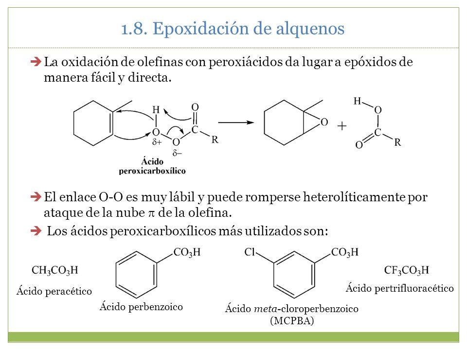 1.8. Epoxidación de alquenos La oxidación de olefinas con peroxiácidos da lugar a epóxidos de manera fácil y directa. El enlace O-O es muy lábil y pue
