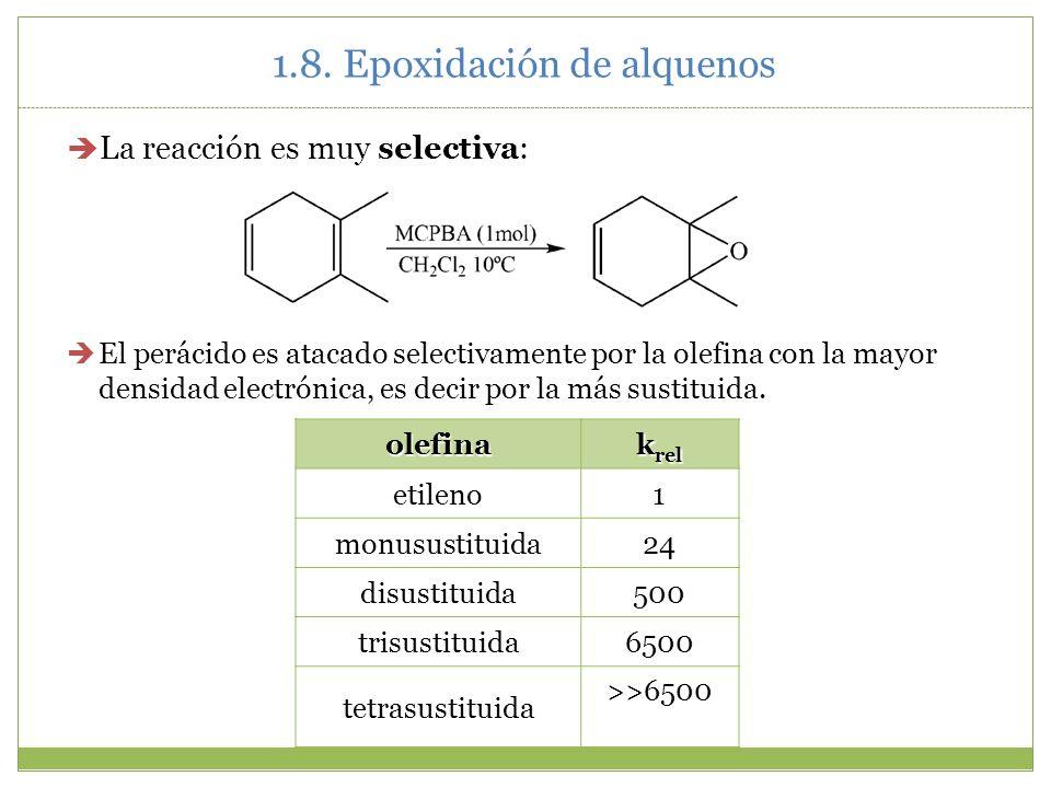 1.8. Epoxidación de alquenos La reacción es muy selectiva: El perácido es atacado selectivamente por la olefina con la mayor densidad electrónica, es