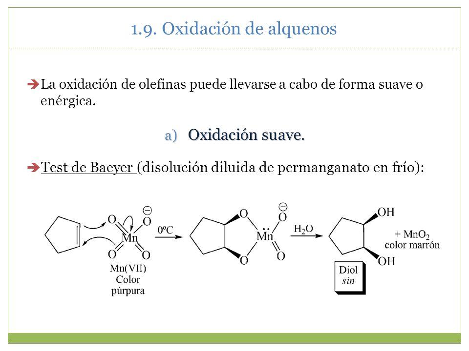 1.9. Oxidación de alquenos La oxidación de olefinas puede llevarse a cabo de forma suave o enérgica. a) Oxidación suave. Test de Baeyer (disolución di