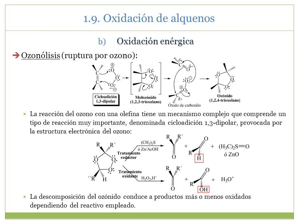 b) Oxidación enérgica Ozonólisis (ruptura por ozono): La reacción del ozono con una olefina tiene un mecanismo complejo que comprende un tipo de reacc
