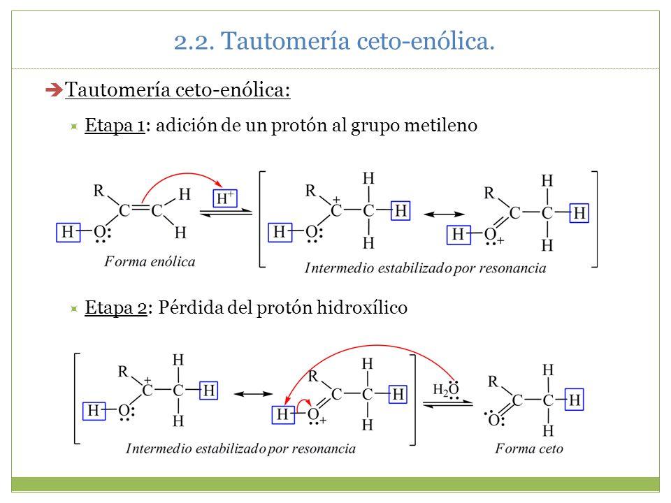 2.2. Tautomería ceto-enólica. Tautomería ceto-enólica: Etapa 1: adición de un protón al grupo metileno Etapa 2: Pérdida del protón hidroxílico