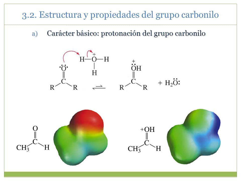 3.2. Estructura y propiedades del grupo carbonilo a) Carácter básico: protonación del grupo carbonilo