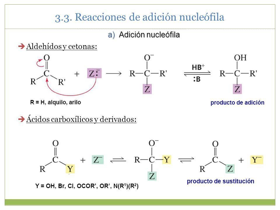 Aldehídos y cetonas: Ácidos carboxílicos y derivados: 3.3. Reacciones de adición nucleófila a) Adición nucleófila