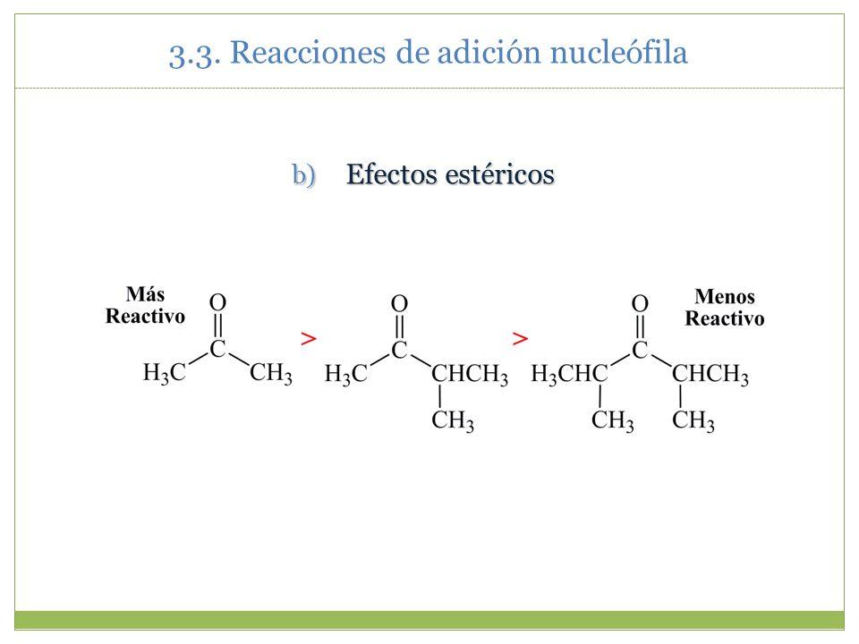b) Efectos estéricos 3.3. Reacciones de adición nucleófila