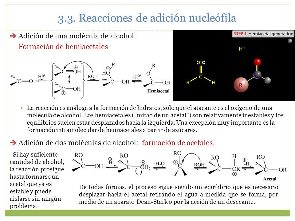 3.3. Reacciones de adición nucleófila Adición de una molécula de alcohol: Formación de hemiacetales La reacción es análoga a la formación de hidratos,