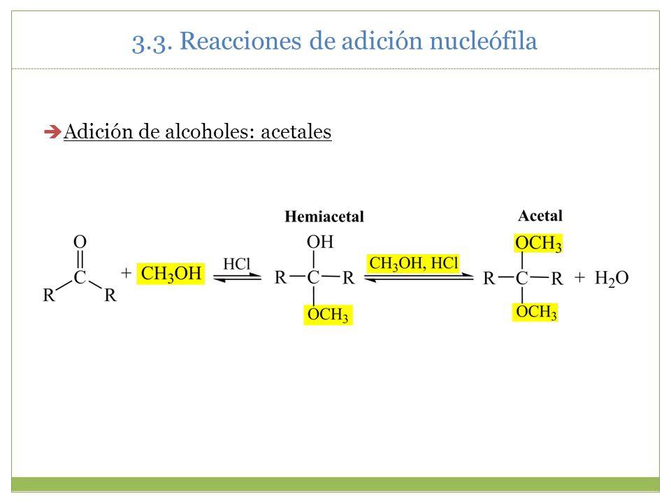 3.3. Reacciones de adición nucleófila Adición de alcoholes: acetales