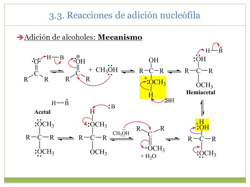 3.3. Reacciones de adición nucleófila Adición de alcoholes: Mecanismo