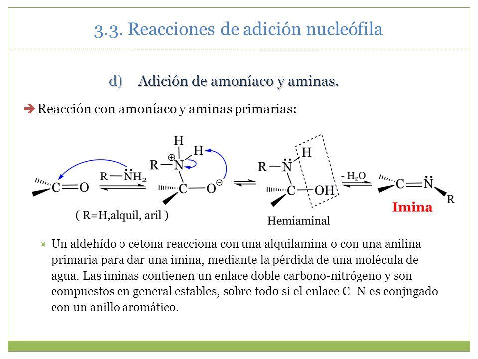 3.3. Reacciones de adición nucleófila d)Adición de amoníaco y aminas. Reacción con amoníaco y aminas primarias: Un aldehído o cetona reacciona con una