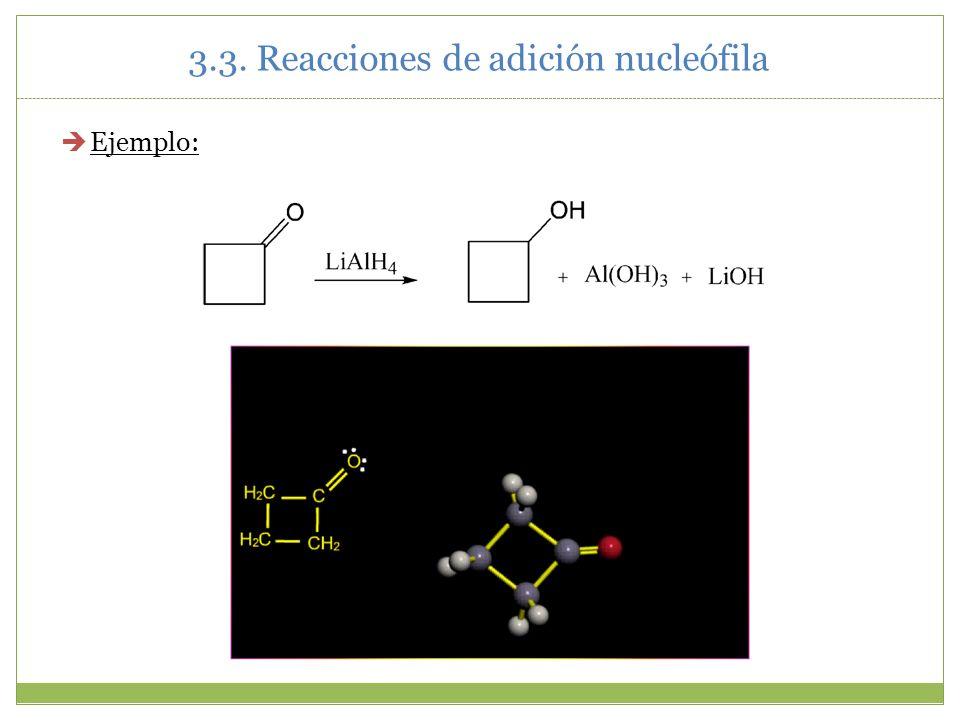 3.3. Reacciones de adición nucleófila Ejemplo: