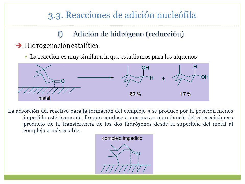 3.3. Reacciones de adición nucleófila f)Adición de hidrógeno (reducción) Hidrogenación catalítica La reacción es muy similar a la que estudiamos para