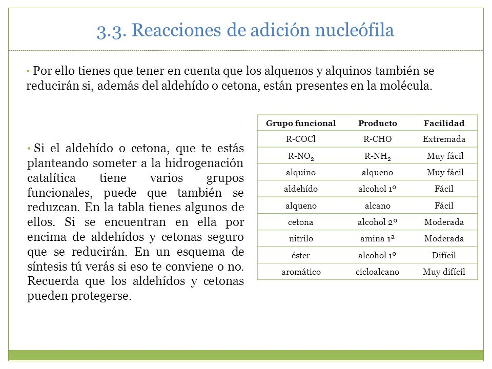 3.3. Reacciones de adición nucleófila Grupo funcionalProductoFacilidad R-COClR-CHOExtremada R-NO 2 R-NH 2 Muy fácil alquinoalqueno Muy fácil aldehídoa