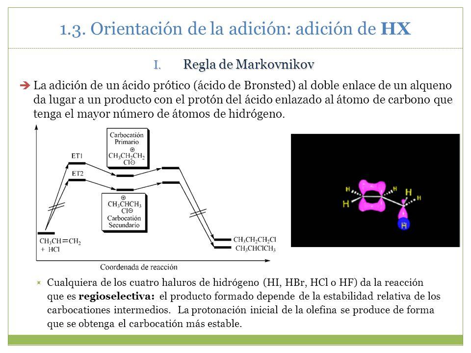 1.3. Orientación de la adición: adición de HX I. Regla de Markovnikov La adición de un ácido prótico (ácido de Bronsted) al doble enlace de un alqueno