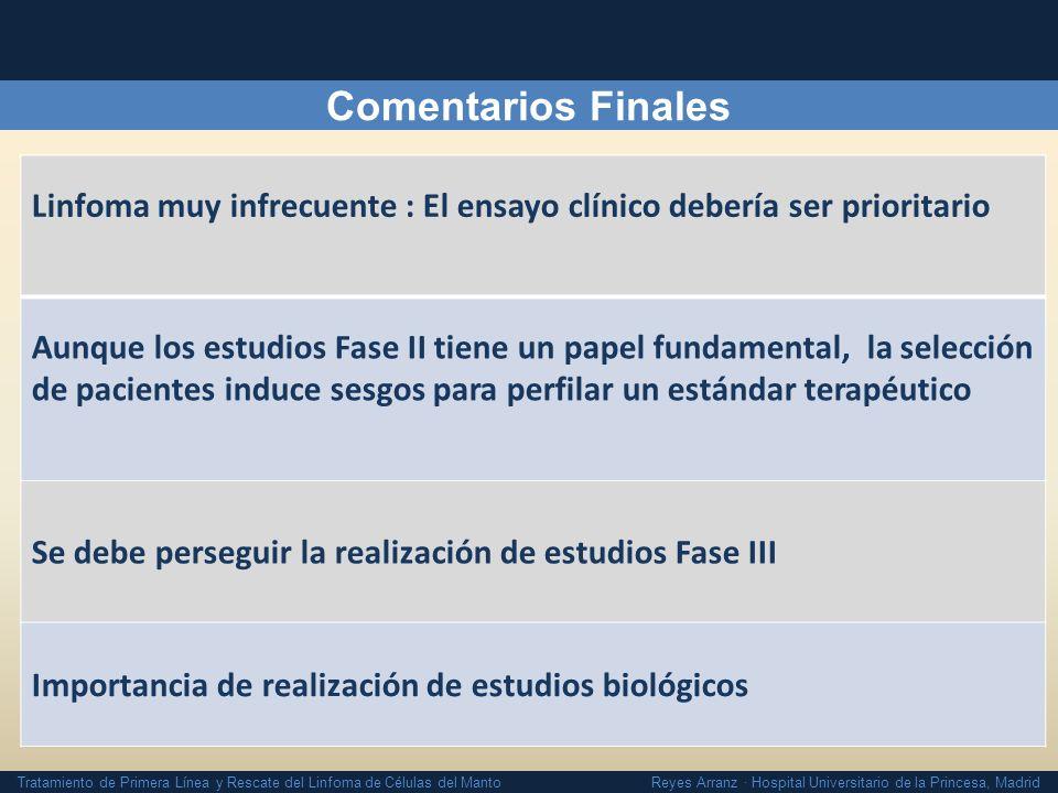 Tratamiento de Primera Línea y Rescate del Linfoma de Células del Manto Reyes Arranz · Hospital Universitario de la Princesa, Madrid Comentarios Final