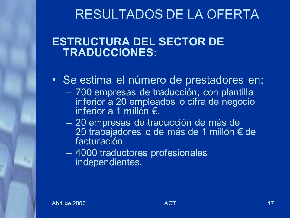 Abril de 2005ACT17 RESULTADOS DE LA OFERTA ESTRUCTURA DEL SECTOR DE TRADUCCIONES: Se estima el número de prestadores en: –700 empresas de traducción,