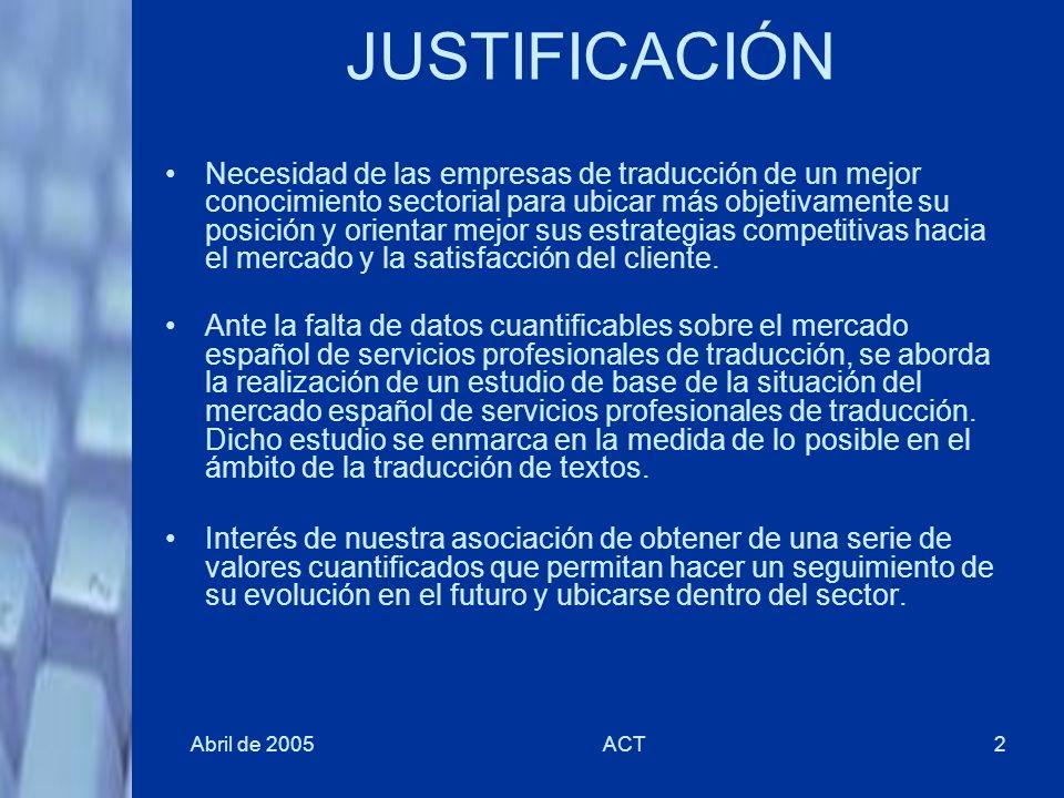 Abril de 2005ACT2 JUSTIFICACIÓN Necesidad de las empresas de traducción de un mejor conocimiento sectorial para ubicar más objetivamente su posición y