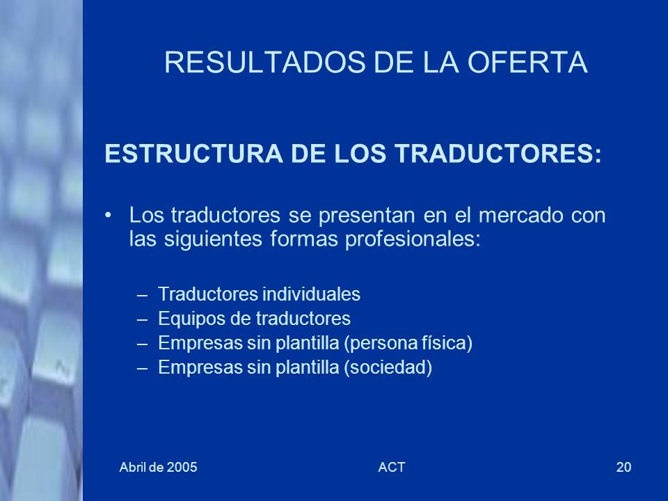 Abril de 2005ACT20 RESULTADOS DE LA OFERTA ESTRUCTURA DE LOS TRADUCTORES: Los traductores se presentan en el mercado con las siguientes formas profesi