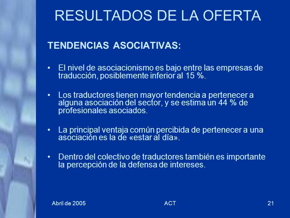 Abril de 2005ACT21 RESULTADOS DE LA OFERTA TENDENCIAS ASOCIATIVAS: El nivel de asociacionismo es bajo entre las empresas de traducción, posiblemente i