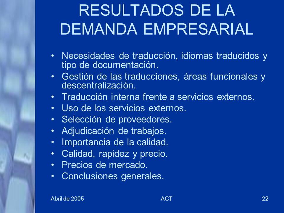 Abril de 2005ACT22 RESULTADOS DE LA DEMANDA EMPRESARIAL Necesidades de traducción, idiomas traducidos y tipo de documentación. Gestión de las traducci