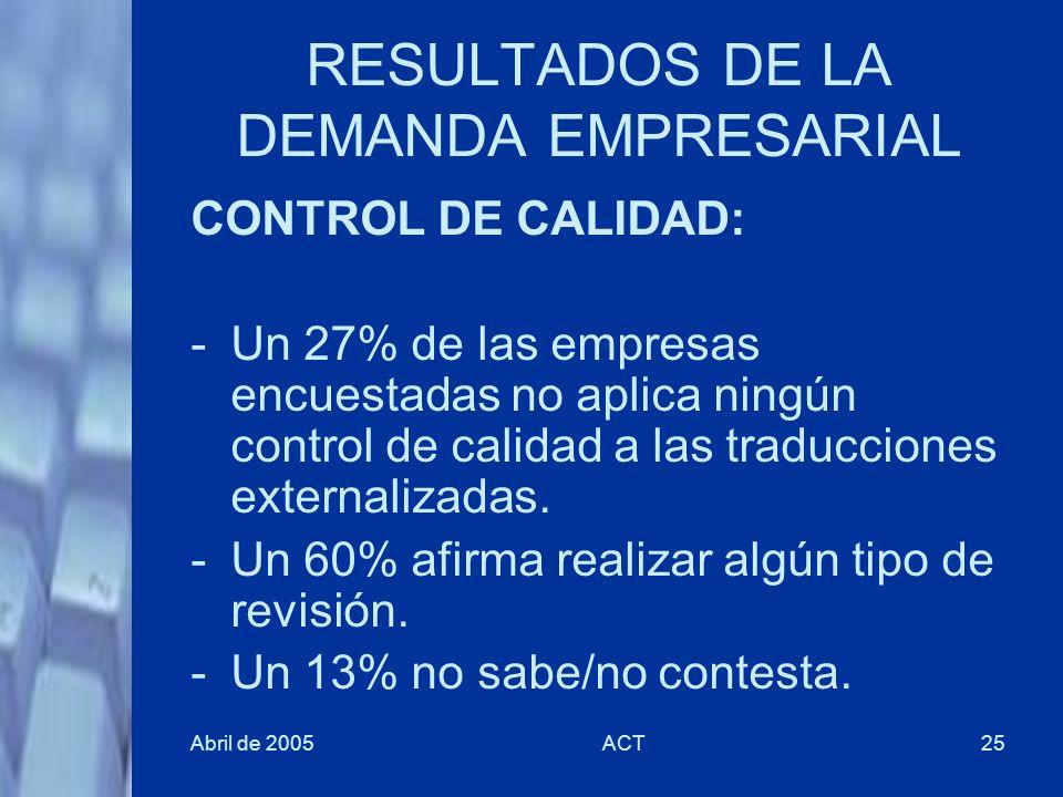 Abril de 2005ACT25 RESULTADOS DE LA DEMANDA EMPRESARIAL CONTROL DE CALIDAD: -Un 27% de las empresas encuestadas no aplica ningún control de calidad a