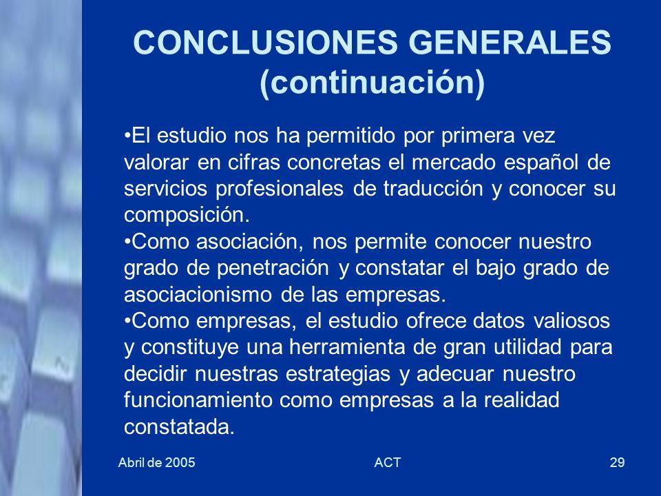 Abril de 2005ACT29 CONCLUSIONES GENERALES (continuación) El estudio nos ha permitido por primera vez valorar en cifras concretas el mercado español de
