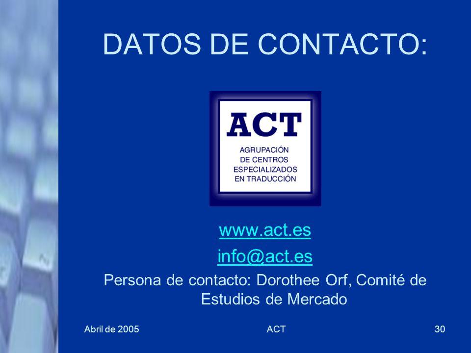 Abril de 2005ACT30 DATOS DE CONTACTO: www.act.es info@act.es Persona de contacto: Dorothee Orf, Comité de Estudios de Mercado