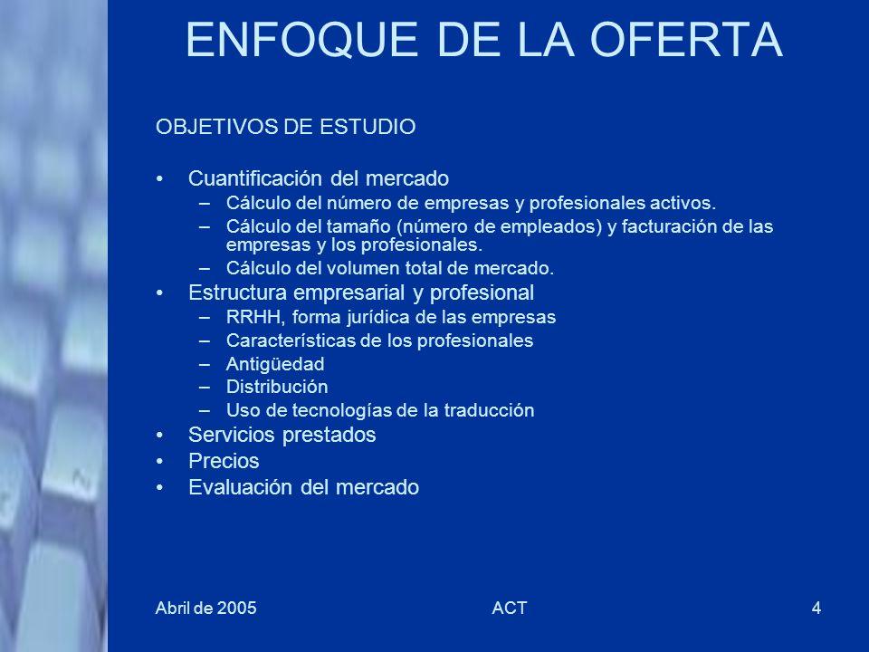 Abril de 2005ACT4 ENFOQUE DE LA OFERTA OBJETIVOS DE ESTUDIO Cuantificación del mercado –Cálculo del número de empresas y profesionales activos. –Cálcu