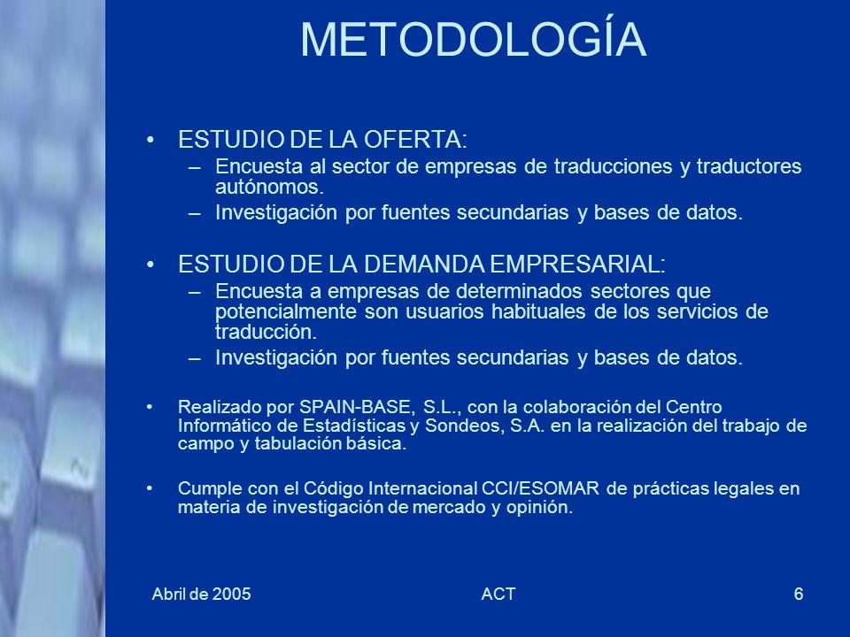 Abril de 2005ACT6 METODOLOGÍA ESTUDIO DE LA OFERTA: –Encuesta al sector de empresas de traducciones y traductores autónomos. –Investigación por fuente