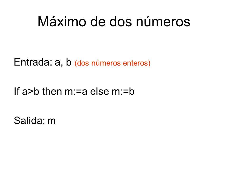 Máximo de dos números Entrada: a, b (dos números enteros) If a>b then m:=a else m:=b Salida: m