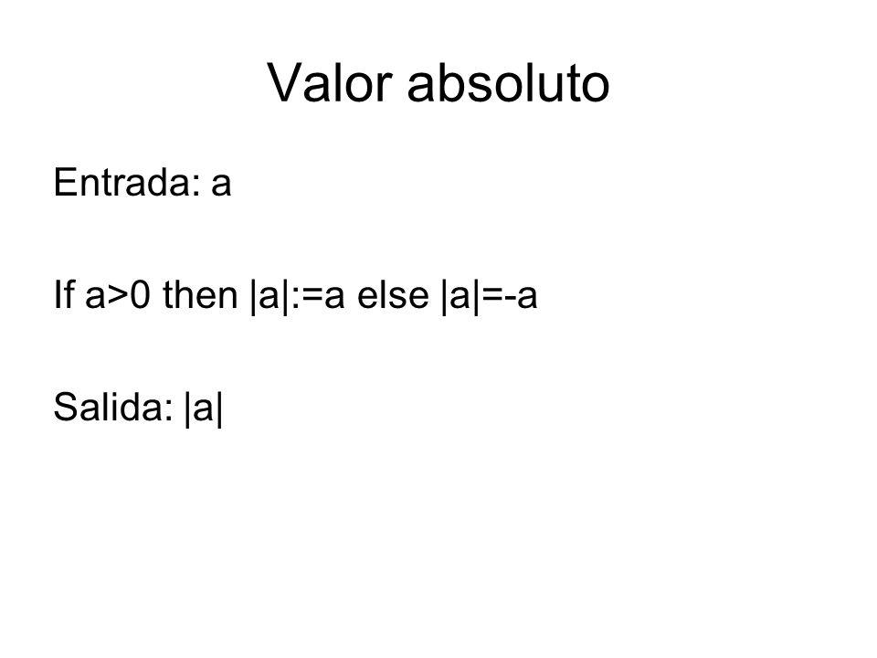 Valor absoluto Entrada: a If a>0 then |a|:=a else |a|=-a Salida: |a|