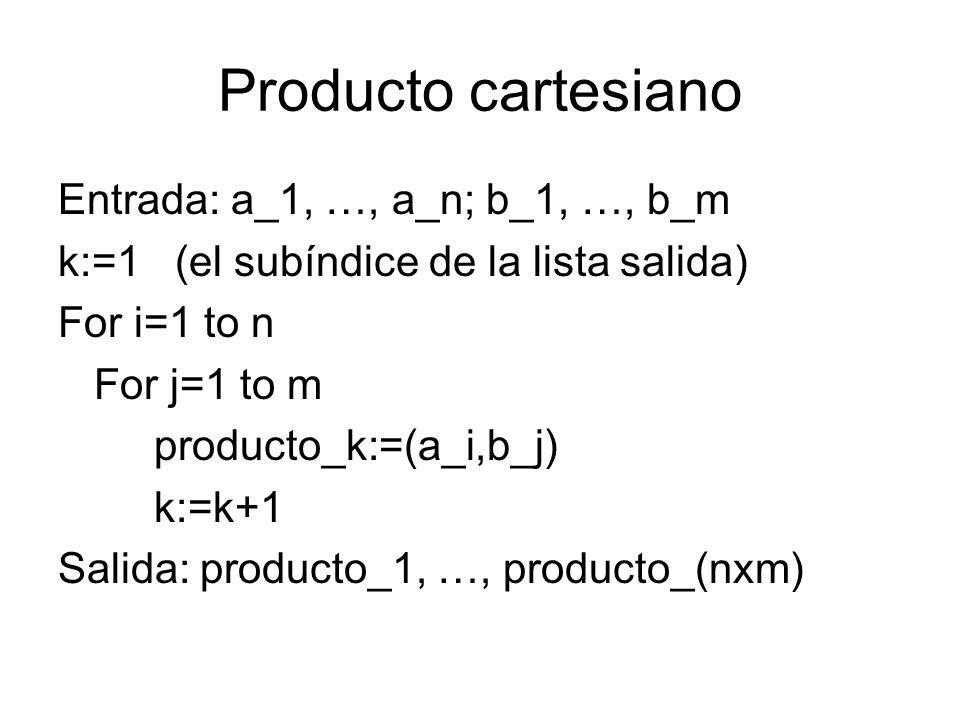Producto cartesiano Entrada: a_1, …, a_n; b_1, …, b_m k:=1 (el subíndice de la lista salida) For i=1 to n For j=1 to m producto_k:=(a_i,b_j) k:=k+1 Sa