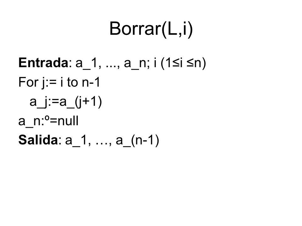 Borrar(L,i) Entrada: a_1,..., a_n; i (1i n) For j:= i to n-1 a_j:=a_(j+1) a_n:º=null Salida: a_1, …, a_(n-1)
