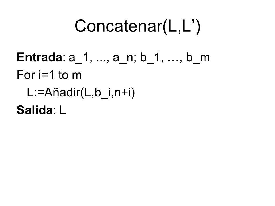 Concatenar(L,L) Entrada: a_1,..., a_n; b_1, …, b_m For i=1 to m L:=Añadir(L,b_i,n+i) Salida: L