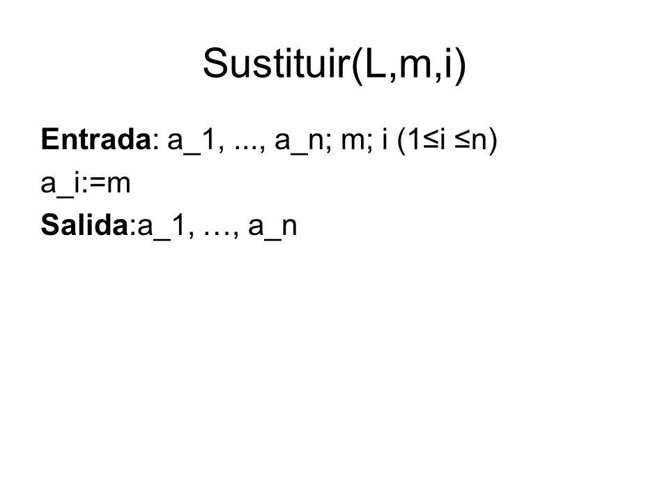 Sustituir(L,m,i) Entrada: a_1,..., a_n; m; i (1i n) a_i:=m Salida:a_1, …, a_n