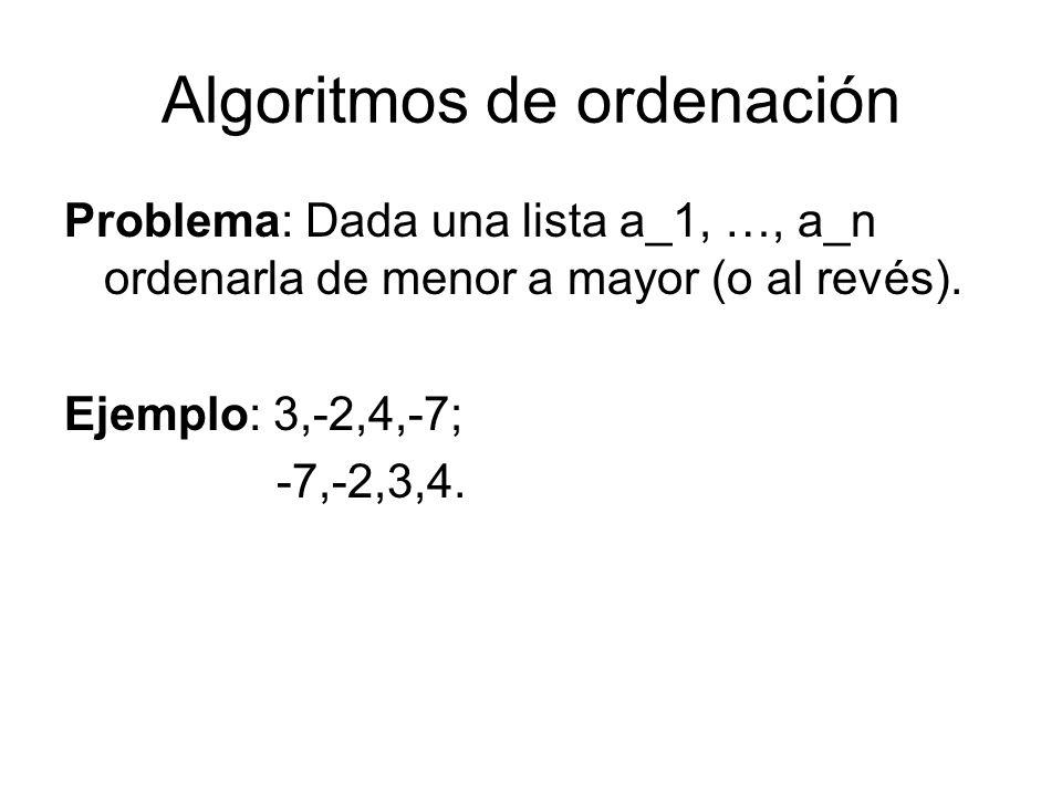 Algoritmos de ordenación Problema: Dada una lista a_1, …, a_n ordenarla de menor a mayor (o al revés). Ejemplo: 3,-2,4,-7; -7,-2,3,4.