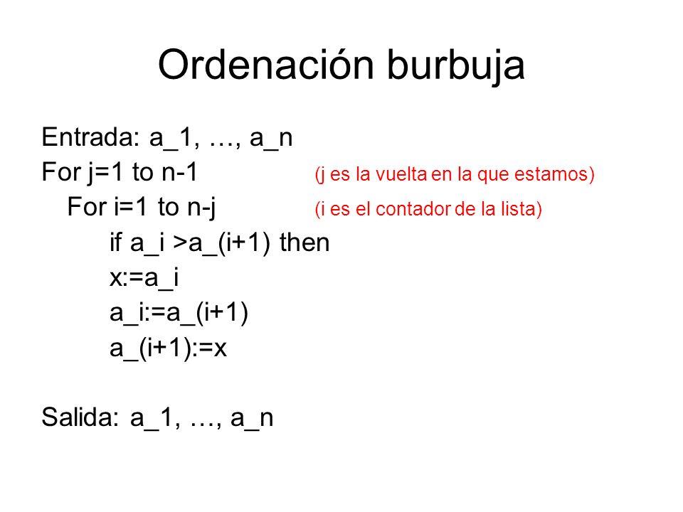 Ordenación burbuja Entrada: a_1, …, a_n For j=1 to n-1 (j es la vuelta en la que estamos) For i=1 to n-j (i es el contador de la lista) if a_i >a_(i+1