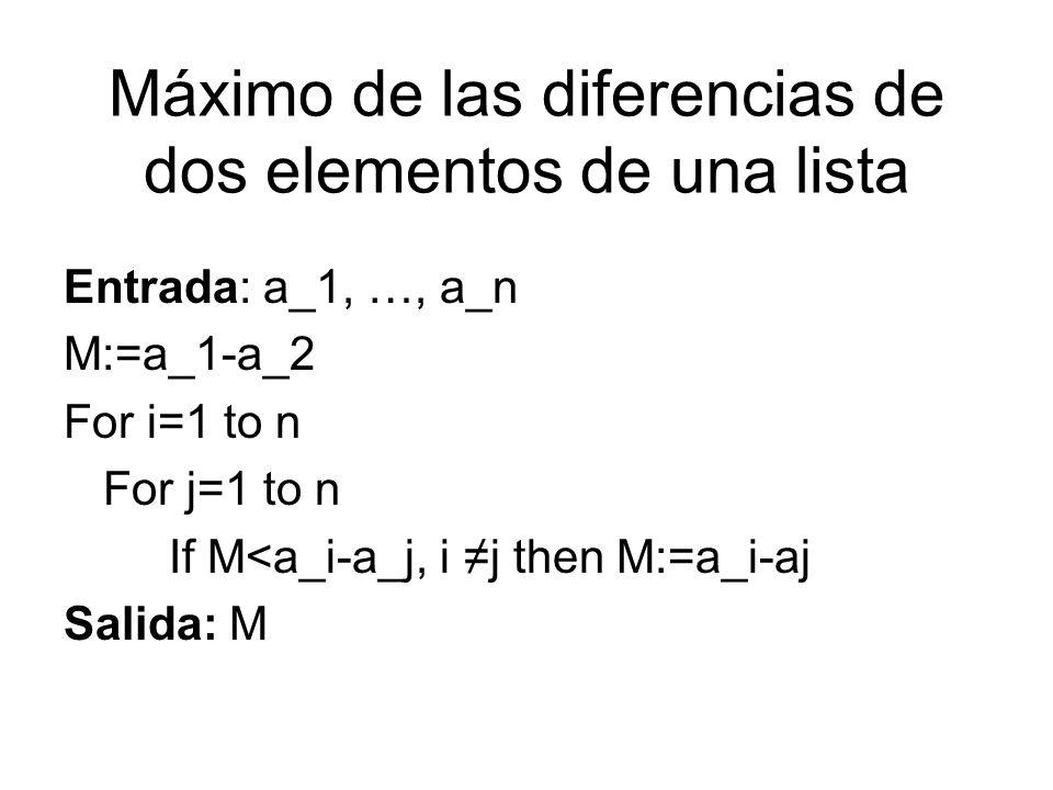 Máximo de las diferencias de dos elementos de una lista Entrada: a_1, …, a_n M:=a_1-a_2 For i=1 to n For j=1 to n If M<a_i-a_j, i j then M:=a_i-aj Sal