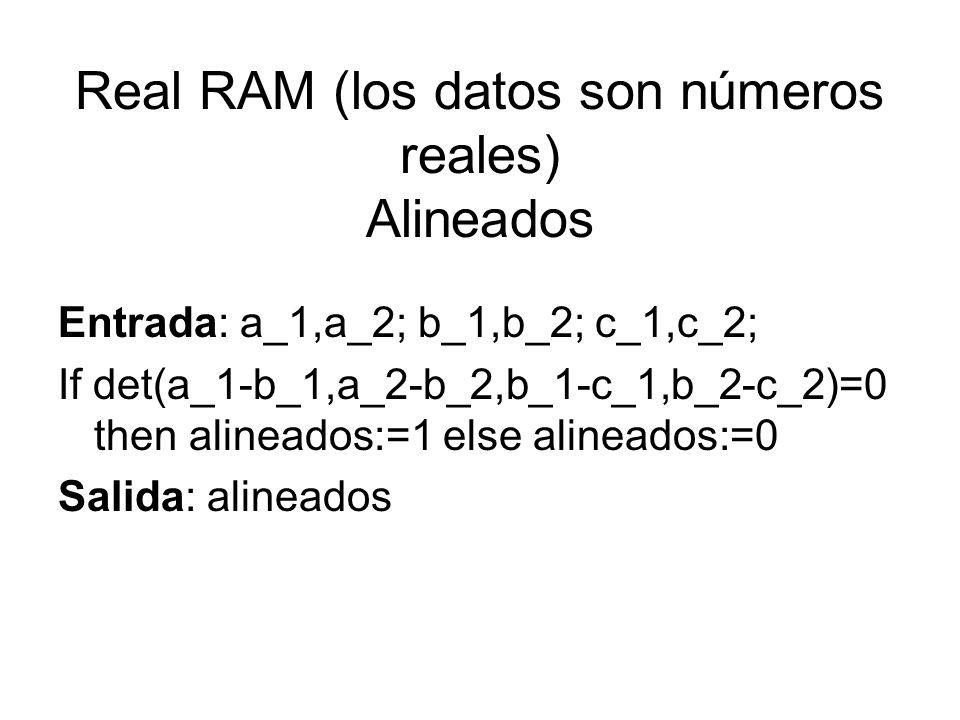 Real RAM (los datos son números reales) Alineados Entrada: a_1,a_2; b_1,b_2; c_1,c_2; If det(a_1-b_1,a_2-b_2,b_1-c_1,b_2-c_2)=0 then alineados:=1 else
